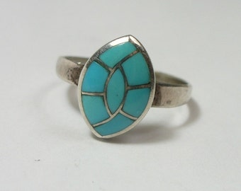 Size 6 - Vintage turquoise inlay sterling silver ring - Native American - Zuni