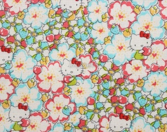 Liberty tana lawn - Floral Heart - Hello Kitty printed in Japan - Light blue mix