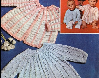 PDF Download - Baby Knitting Pattern - 2 Matinee coats// jackets//tops - DK PDF 18-19 ins chest