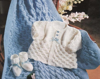 KNITTING PATTERN - Baby Matinee Coat/Jacket/Sweater, Booties/Bootees and Shawl - 14 to 20 in