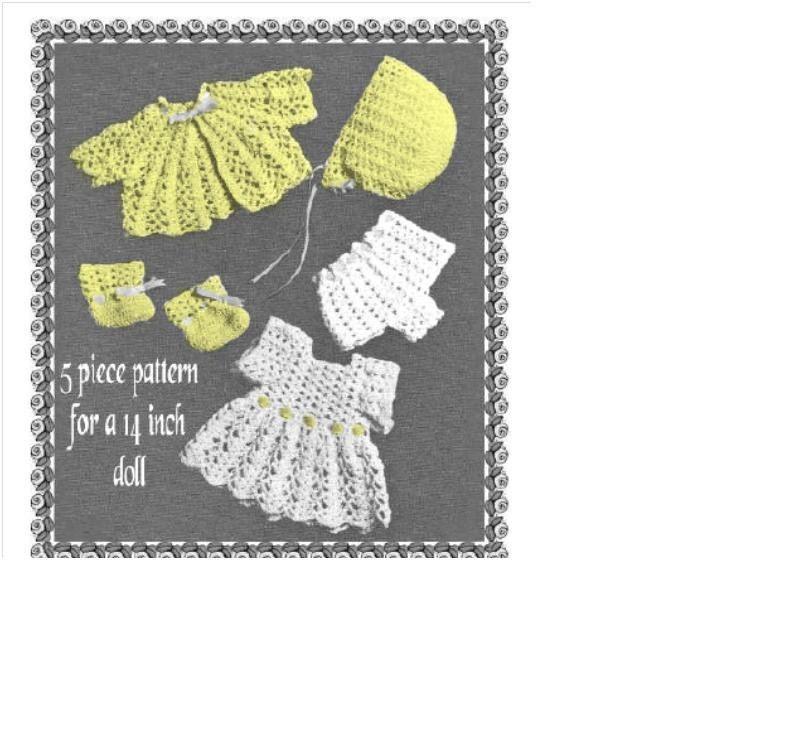 Crochet Pattern Mickey Mouse Doll : DOLL CROCHET PATTERN Full Layette Dress Jacket Bonnet