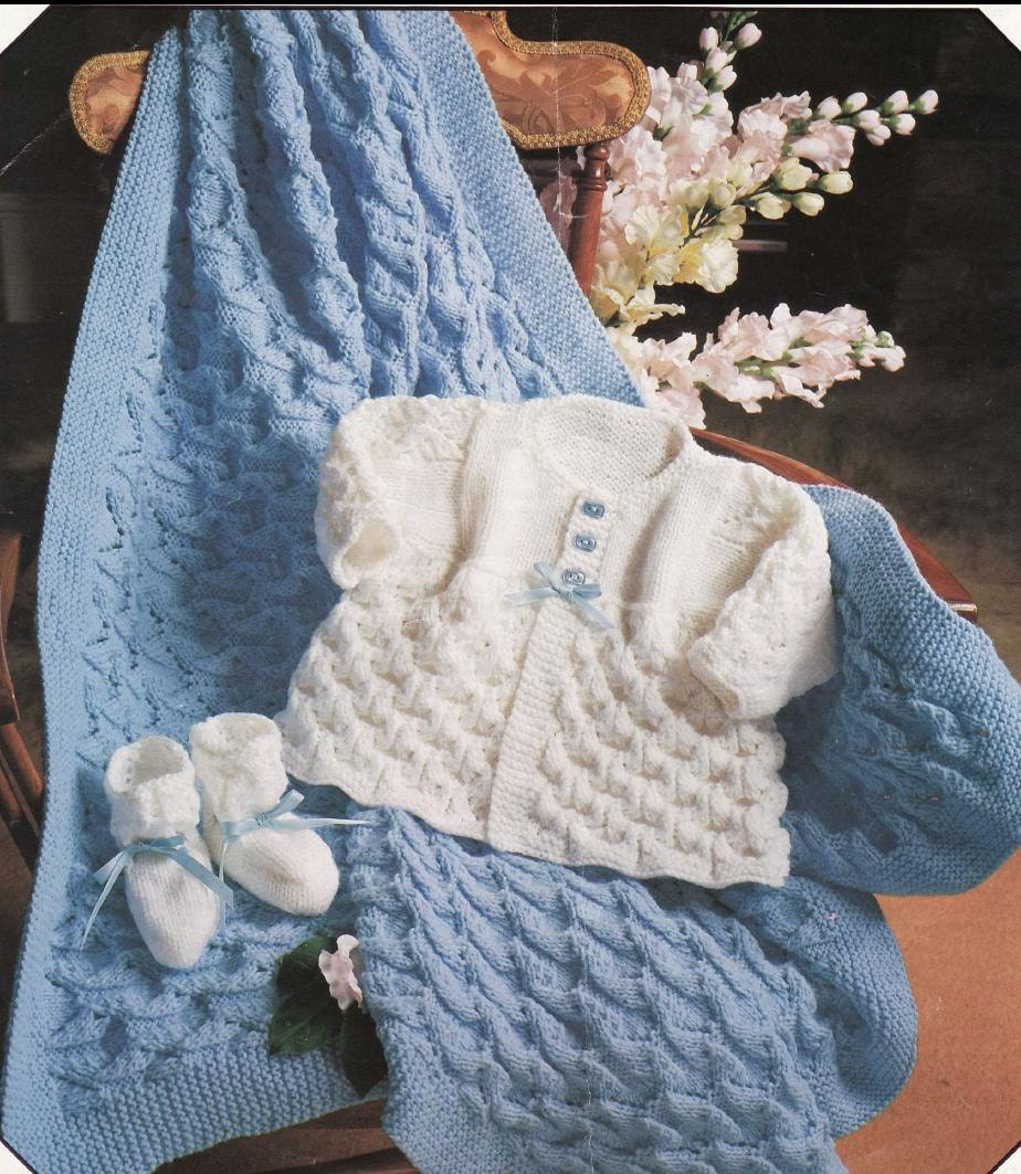 Knitting Patterns For Neonatal Babies : KNITTING PATTERN Baby Matinee Coat/Jacket/Sweater