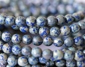 6mm Round Druk Beads - Navy Picasso - Premium Czech Glass Beads - Bead Soup