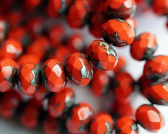 6x8mm Coral Red Picasso Donuts - Opaque Red Rondelle - Fire Polished Rondelle - Bead Soup Beads