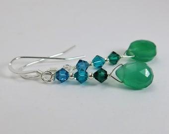 GRACEFUL Green Oynx Earrings, Natural Gemstone Earrings, Sterling Silver Earrings, Beaded Jewelry, Natural Stone Jewelry, Dainty Earrings
