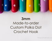 3mm Crochet Hook, Made-to-Order Custom Colour Polka Dots, comfortable polymer clay handle for easy use