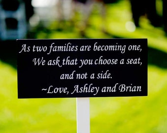 As two families are becoming one with Bride & Groom Names, Wedding. Bridal, Seating Sign.  8 X 16 inches, 1-sided with Stake or Base Option.