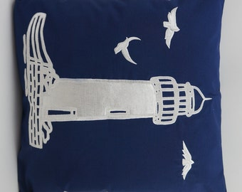"Lighthouse Pillow Cover, Embroidery, Nautical Pillow, Beach decor, Decorative Pillow, Accent Pillow, 18""x18"", Navy, Ready to ship"