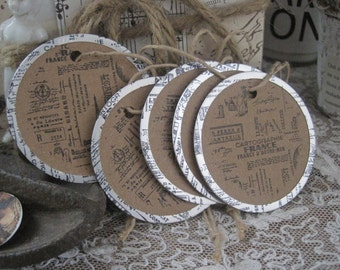 NEW french market round tags set of 5