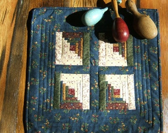 A Country Log Cabin  Miniature Quilt  /Item #37