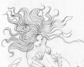 ORIGINAL DRAWING Mermaid on the Ocean Floor, Mermaids on Etsy, Mermaid Art