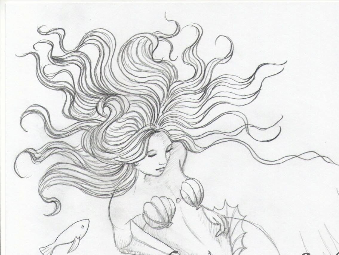 ORIGINAL DRAWING Mermaid On The Ocean Floor Mermaids On Etsy