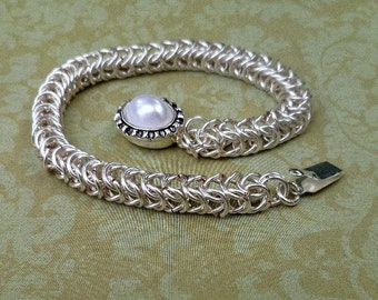 Hand Crafted Chainmaille Bracelet, Box Weave Chainmaille Bracelet, Silver Chainmaille Bracelet, Chainmaille jewelry