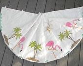 "EXTREMELY LIMITED EDITION flamingo Christmas tree skirt 52"" (135cm) palm tree waves coastal ocean beach tropical Crabby Chris Original"