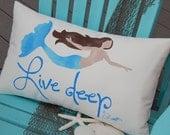 "New Mermaid pillow LIVE DEEP ships tomorrow 12""x20"" handpainted outdoor beach house throw coastal ocean merfolk Crabby Chris Original"