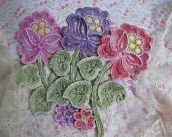 Lace Flower Applique Hand Dyed Venise Embellishment