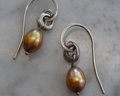 Copper Pearl and Oxidized Sterling Earrings