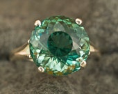 9 Carat Prasiolite (Green Amethyst) Portuguese Cut Unique Color Engagement Ring