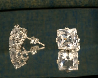 White Sapphire Princess Cut Silver Stud Earrings, Gemstone Studs