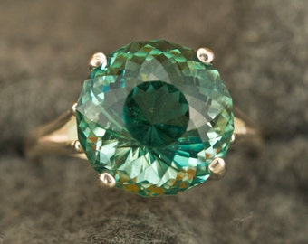 9 Carat Prasiolite (Green Amethyst) Portuguese Cut Unique Color Engagement Ring