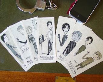 8 BBC Sherlock Bookmarks - Sherlock Holmes Mycroft Holmes DI Greg Lestrade Dr John Watson