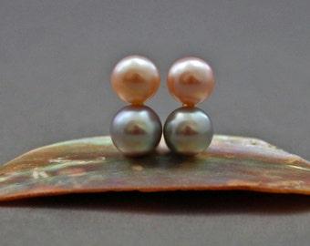 Julianne - double pearl earrings, stud earrings, OOAK, solid gold, pearl jewelry, business attire, gift, for her, wedding, jewelry, birthday