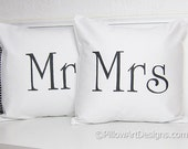 Mr and Mrs Pillow Covers Black and White Hand Painted 16 X 16 inch Made in Canada