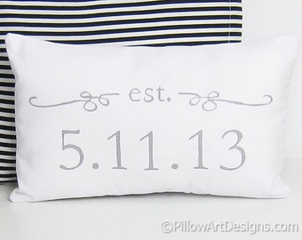 Wedding Date Pillow Est Date Wedding Decor Mini Pillow Grey and White Hand Painted 8 X 12 Made in Canada