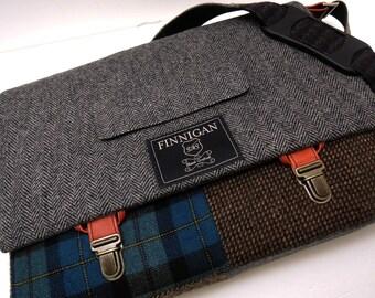 """Mens 15"""" laptop Messenger Bag , 15""""  Macbook Pro Laptop Sleeve, tote bag, Brown Teal Plaid, Wool, Recycled Suit Coat"""
