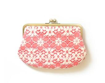 SALE Lace Coral Creme  - Bridal Bridesmaid Wedding Clutch Bag Purse Gift Ideas Handmade by Lolis Creations
