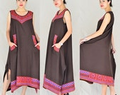 Flower berry dress.  Vol  1   .....100 percent  cotton in dark brown