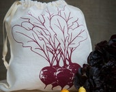 Cloth Gift Bag, Organic Linen Drawstring Produce Bag - Hand Screen Printed with Beets Design