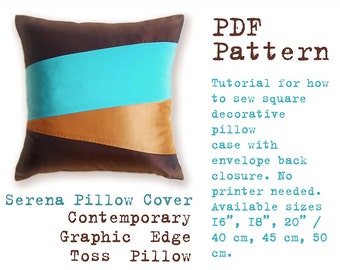 PDF Sewing Pattern to make Contemporary Graphic Edge Toss Pillow SERENA easy sewing tutorial
