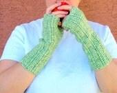 Spring Green Mist Fingerless Gloves, Green Fingerless Gloves for Women or Men, Crochet, Crocheted Arm Warmers, Wrist Warmers, Hoooked
