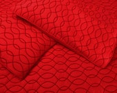 """red modern  Cotton bedspread  queen  quilted  bedding coverlet waves embroidery pattern with 2 pillows in size 102""""x116""""and 20""""X30"""""""