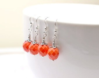 Beaded Coral Earrings, Pretty Peach Glass Drops, Tropical Summer Jewelry, Silver and Orange Dangles
