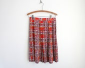 Vintage Red Silk Pleated Skirt - Impressionist Polka Dots - Painterly Print - Midi Skirt - High Waist
