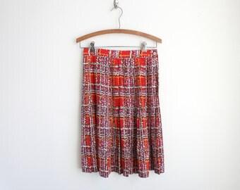 Vintage Red Silk Pleated Skirt - Impressionist Polka Dots - Painterly Print - Midi Skirt - High Waist