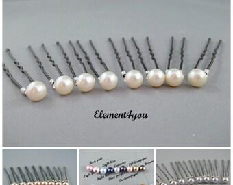 Pearl hair pins, bridal u pins, wedding hair accessories, bridesmaid hair pins, set of 8, pearl pins, Pink blue purple champagne pearls.