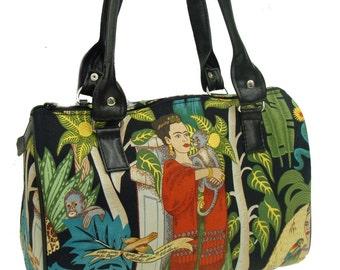 Handbag Doctor bag USA Handmade Satchel Style Latino Artist Frida  With Monkey Alexander Henry Cotton Fabric Bag Purse, new