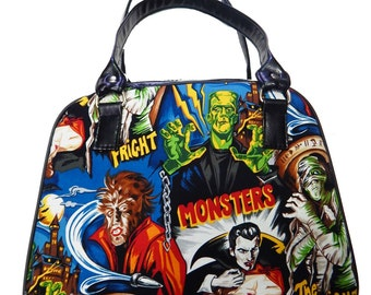 Handbag MEDIUM Doctor bag Satchel Style WITH Monster Horor Movies with Shimmering Shiny GREEN Fabric Pattern Bag Purse, New,