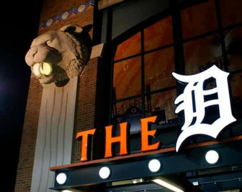 The D Detroit Photography Tigers Baseball Fan Gift Comerica Park Detroit's Downtown Stadium Urban Sports Sign Color Photography Print