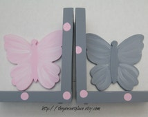 Pink and grey butterfly bookends with polka dots,childrens bookends,girls bookends,kids bookends,butterfly bookends,pink and grey room decor