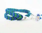 Blue Green Woven Kumihimo Wrap Bracelet Glass Bead Nylon Paracord By Distinctly Daisy