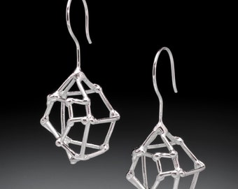 Crystal Structure Sterling Silver Earrings