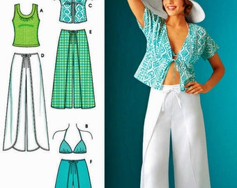 Wrap Pants Pattern, Wrap Shorts, Kimono Top, Knit Top, Bra Top, Simplicity Sewing Pattern 4192
