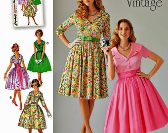 1950s Vintage Dress Pattern, Misses' Classic Dress Pattern, Simplicity Sewing Pattern 1459