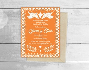 Papel Picado Fiesta Wedding Design Invitation