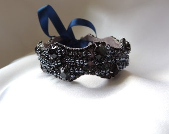 Wedding Bridal Party Rhinestone Crystal Bracelet Cuff Black with Navy Ribbon Closure