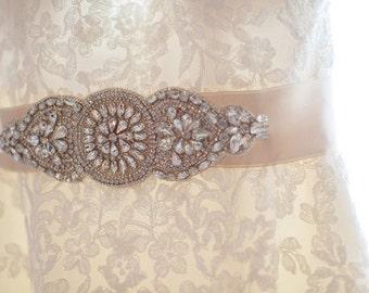 Karina Wedding Dress Embellished Beaded Crystal Belt Wedding Sash